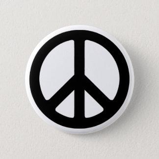 Classic Black Groovy Peace Symbol Pinback Button