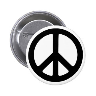 Classic Black Groovy Peace Symbol Pinback Button