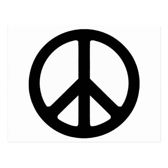 Classic Black Groovy Peace Symbol Postcard