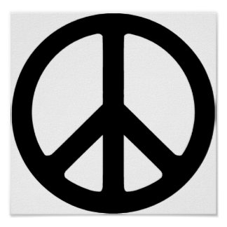 Classic Black Groovy Peace Symbol Poster
