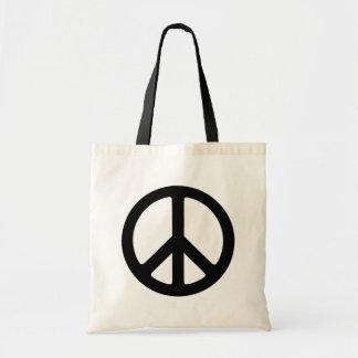 Classic Black Groovy Peace Symbol Tote Bag