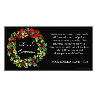Classic Black Holly Wreath Imprinted Flat Cards
