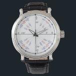 "Classic Black Leather Unit Circle Wristwatch<br><div class=""desc"">Trigonometry Unit Circle Wristwatch</div>"