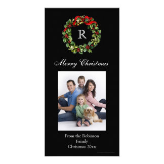Classic Black Monogrammed Wreath Photo Cards