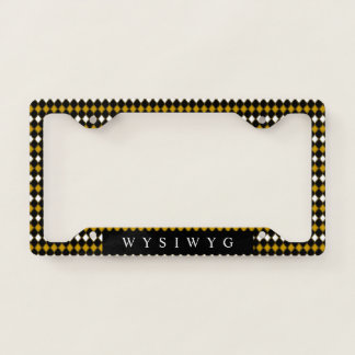 Classic Black n Gold Diamonds License Plate Frame