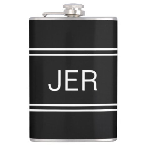 Classic Black Personalized Monogram Initials Drink Flask