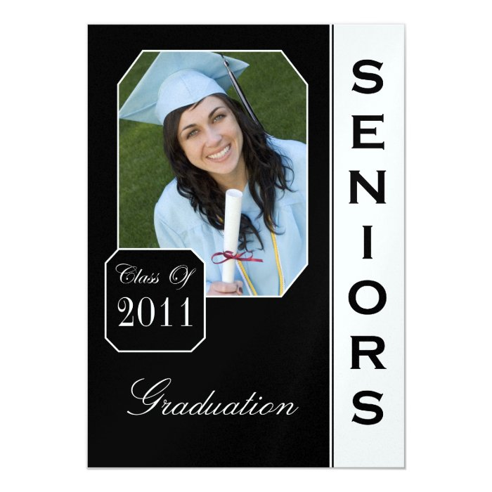 Classic Black Photo Graduation Announcements