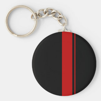 Classic Black & RED Race Car Stripes Basic Round Button Keychain