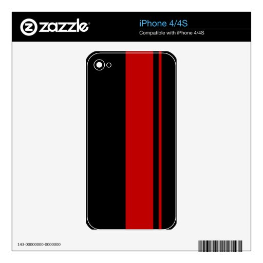 Classic Black & RED Race Car Stripes Decal For The iPhone 4S
