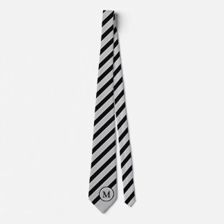 Classic Black Silver Gray Stripes Monogram Initial Tie