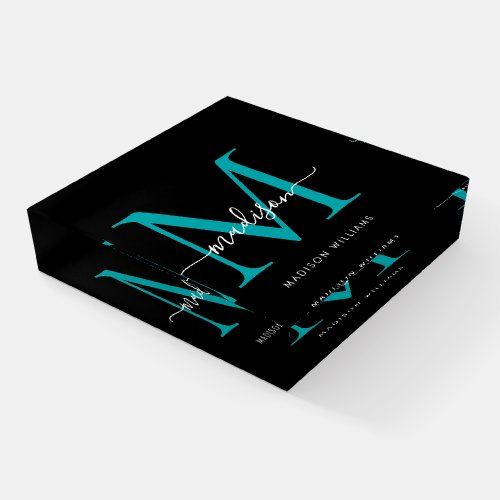 Classic Black Teal Green Monogram Chic Script Name Paperweight