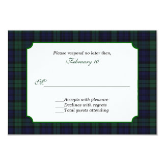 Classic Black Watch Tartan Wedding RSVP Card
