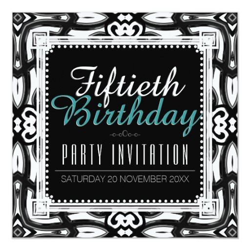 Classic Black White 50th Birthday Party Invite