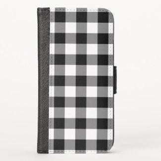 Classic Black White Buffalo Check iPhone XS Wallet Case