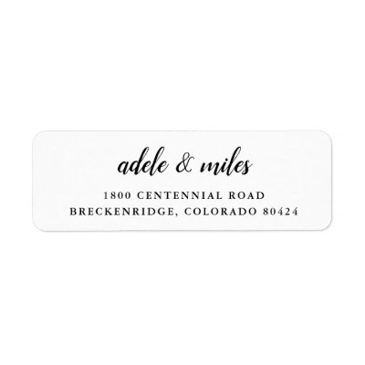 Chic Script Black White Graduation Party Label