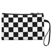 Classic Black White Checker Checkered Flag Wristlet Wallet