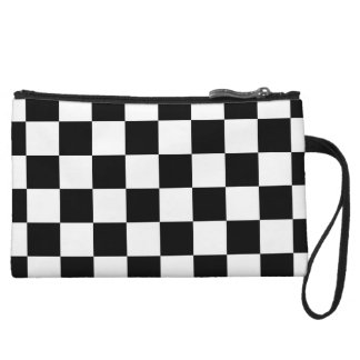 Classic Black White Checker Checkered Flag Wristlet Wallet