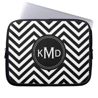 Classic Black White Chevron Trio Monogram Laptop Sleeve