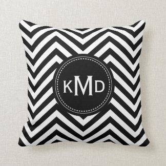 Classic Black White Chevron Trio Monogram Pillow