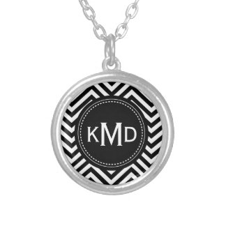 Classic Black White Chevron Trio Monogram Round Pendant Necklace