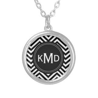 Classic Black White Chevron Trio Monogram Silver Plated Necklace