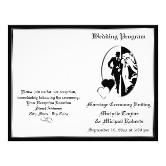 Classic Black White Customizable Wedding Program Custom Flyer