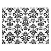 Classic Black & White Damask Wallpaper Print Calendar