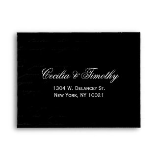 Classic Black & White Damask Wedding RSVP Linen A2 Envelope