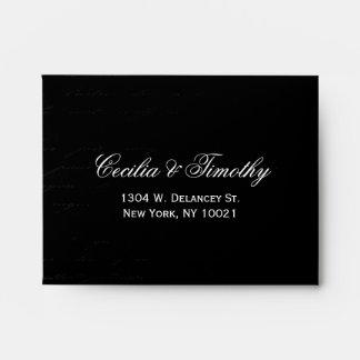 Classic Black & White Damask Wedding RSVP Linen A2 Envelopes