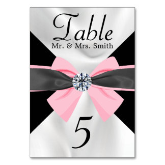 Classic Black & White Drapery with Pink Bow Card