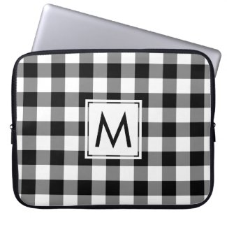 Classic Black White Gingham Plaid Pattern Monogram Computer Sleeve