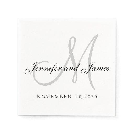 Classic Black White Gray Monogram Paper Napkins Zazzle