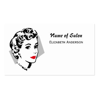 Classic Black White Hair Salon Vintage Red Lips Business Cards