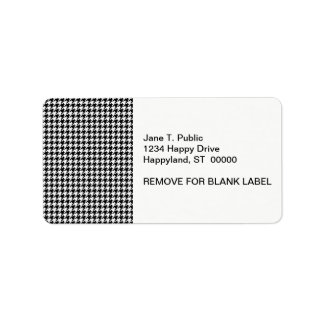 Classic Black White Houndstooth Label