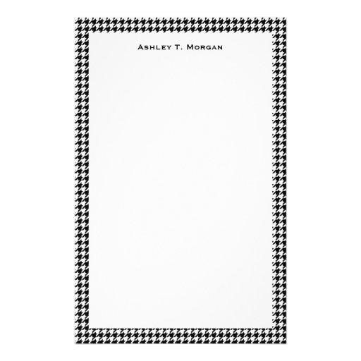 Classic Black White Houndstooth Custom Stationery