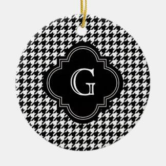 Classic Black White Houndstooth With Monogram Ceramic Ornament