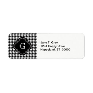 Classic Black White Houndstooth With Monogram Label