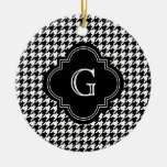 Classic Black White Houndstooth With Monogram Christmas Tree Ornament
