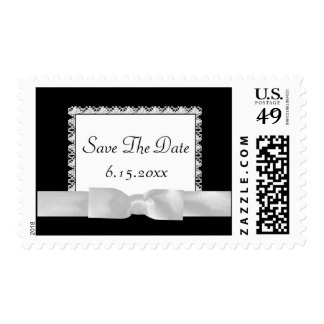 Classic Black & White Lace With Bow Postage