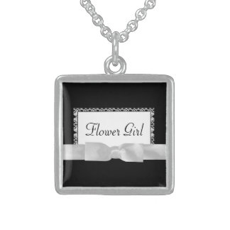 Classic Black & White Lace With Bow Square Pendant Necklace
