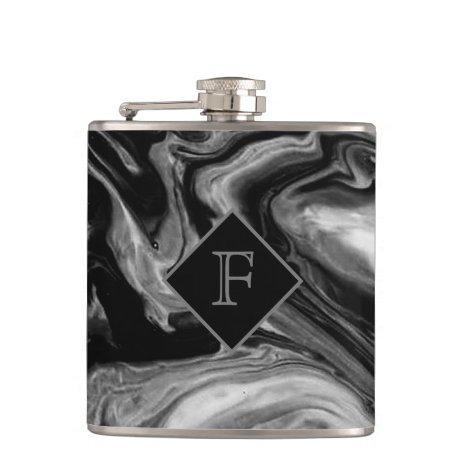 Classic Black & White Marble Monogrammed Flask