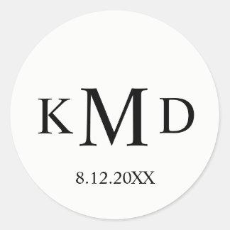 Classic Black White Monogram Bride Groom Wedding Classic Round Sticker
