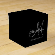 Classic Black & White Monogram Favor Box