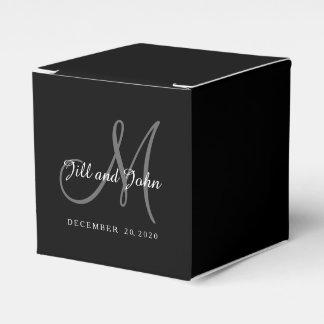 Classic Black & White Monogram Favor Box