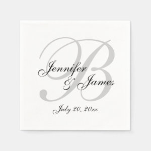 Classic Black White Monogram Wedding Paper Napkin