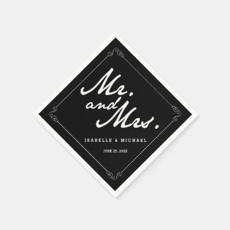 Classic Black & White Mr & Mrs Wedding Napkins