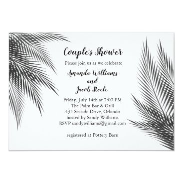 Beach Themed Classic Black & White Palm Leaves Couple's Shower Card