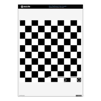 Classic Black White Retro Checkerboard Pattern Skin For PS3 Slim