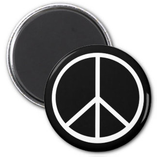 Classic Black White Retro Peace Sign 2 Inch Round Magnet
