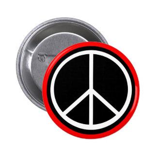 Classic Black White Retro Peace Sign Pinback Button